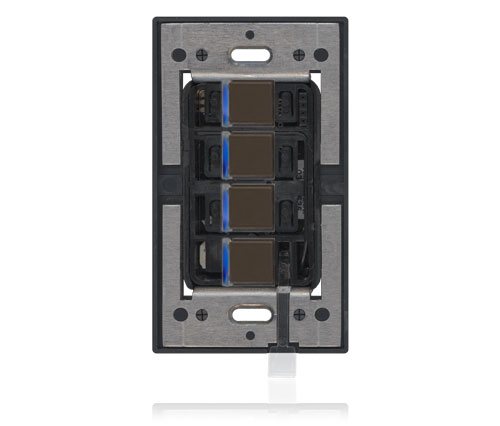 RD - Squaretouch Plastic 1-G 4-BTN B-Led Brown